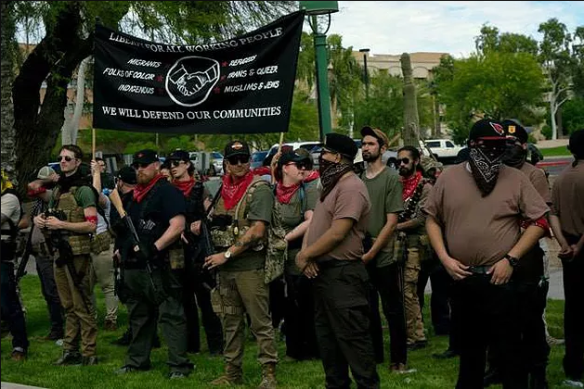 Phoenix John Brown Gun Club at a MAGA rally in Arizona. Source: https://www.redneckrevolt.org/single-post/2017/03/28/PHOENIX-MAGA-MARCH-REPORTBACK