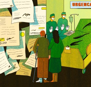 An illustration of a couple looking at a wall of medical bills next to an operating room where doctors are waiting.